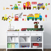 Wallpark Cartoon Toy Construction Truck Removable Wall Sticker Decal, Children Kids Baby Home Room Nursery DIY Decorative Adhesive Art Wall Mural