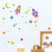 Wallpark Outer Space Universe Moon Stars Rocket Removable Wall Sticker Decal, Children Kids Baby Home Room Nursery DIY Decorative Adhesive Art Wall Mural