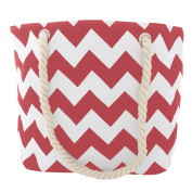 Pop Fashion Women's Top Handle Canvas Tote Bag with Chevron Print and Double Rope Handles