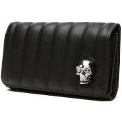 Lux de Ville Lady Vamp Collection Wallet Matte Black with Skull