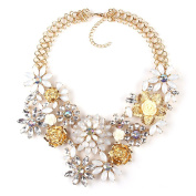 Women Colourful Vintage Flower Necklaces Statement Collar Jewellery for Clothing