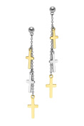 Poonsuk@lucky Stainless Steel Yellow Gold Tone and Drop Cross with Chain Drop Earrings.