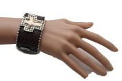 TFJ Women Geniune Leather Bracelet Western Fashion Jewellery Silver Crosses Rhinestones Brown