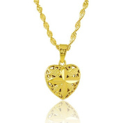 CS-DB Gold 24K Gold Plated Cross Leave Heart Pendant Womens Fashion Necklace 46cm