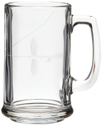 Rolf Glass Etched Fly Fishing Beer Mug (Set of 4), 440ml, Clear