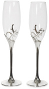 Pavilion Gift Company Glorious Occasions Mr. & Mrs. Wedding Toast Champagne Glass Flute Set, 240ml, Silver
