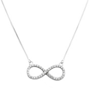 Sterling Silver CZ Infinity Pendant with Adjustable 41cm - 43cm Fine Chain
