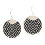 Jody Coyote Earrings Loom Collection LOM-0312-08 silver round black
