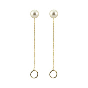 AppleLatte Frosted Ball Stud Earrings with Circle Dangle, Lightweight Gold Plated