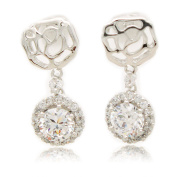 Sterling Silver Plated Rose Round Cubic Zirconia Stud Earrings