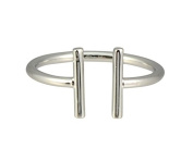 Zenzii Double Parallel Bars Ring, Silvertone Approx Size 7