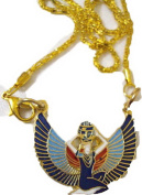 egyptian jewellery isis wings necklace LARGE solid brass 102