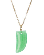Gold-Tone Tooth Claw Stone Pendant Chain Necklace by Jewellery Nexus