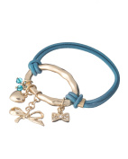 Hammered Finish Ribbon & Heart charm Dual Function Hair Tie & Stretch Bracelet by Jewellery Nexus