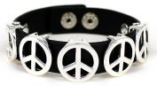 Peace Adjustable Button Closure Black Cord Bracelet May your heart be strong by Jewellery Nexus