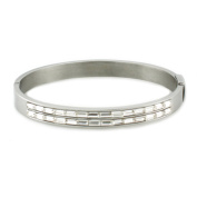 Stainless Steel Oval Bangle w/ Baguette CZ Cut 18cm