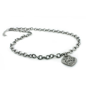 """Stainless Steel Heart """"Love"""" Charm Necklace"""