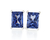 Acacia Jewellery 2.00 Carat (ctw) Rectangle Shape Princess Baguette Diamond Cut Tanzanite Colour 7x5mm Crystal CZ 925 Sterling Silver Heavy Mounting Stud Earrings Rhodium Plated