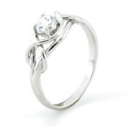 Sterling Silver Twisted Promise Infinity Knot Cubic Zirconia Ring
