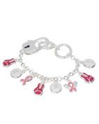 Pink Ribbon Boxing Gloves Designer Charm Strength Hope Victory Bracelet by Jewellery Nexus