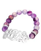 """Love"" Script Glass Bead Stretch Silver-tone Bracelet - Jewellery Nexus"