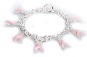 Pink Cancer Ribbon Designer Bracelet by Jewellery Nexus
