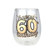 Top Shelf Double Wall Stemless Wine, 60th B'day, Multicolor