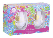 Lilly Pulitzer Stemless Wine Glasses, Flamingle