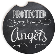 Angelstar 13462 Protected by Angels Auto Coaster, Multicolor