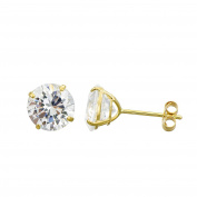 10K Yellow Gold Round Cubic Zirconia (CZ) Double Basket Push Back Stud Earrings - 2 mm to 10 mm