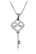 Ocean Fashion Lovely small crystal heart key Sterling Silver Chain Silver necklace