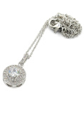 Ocean Fashion Shining crystal hollow heart Sterling Silver Chain silver necklace