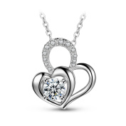 "T400 Jewellers ""My Love"" Heart with Zirconia Pendant Sterling Silver Necklace Women Gifts, White 46cm"