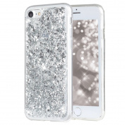 iPhone 7 Case, iPhone 7 Glitter Case, PHEZEN Luxury Bling Glitter Gold Foil Embedded Clear Rubber Gel Flexible TPU Bumper Protective Silicone Case Cover for iPhone 7 12cm , Silver