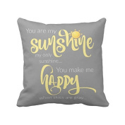 46cm x 46cm You Are My Sunshine Yellow On Grey with Chevron Soft Cotton Polyester Throw Pillow Cases Home Decor Coshion cover Decoretive pillow cover