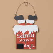 Santa Claus Countdown to Christmas Wood Hanging Chalkboard Calendar Sign Holiday Decoration