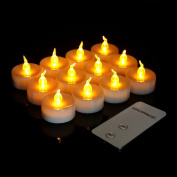 Youngerbaby 12pcs Yellow Flameless Led Tealights Candle with Remote Control Flickering Realistic Flicker Battery Operated Tea Light Candles for Wedding Party Christmas Garden Night Lights