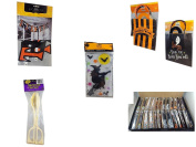 """Halloween Fun Gift Bundle [5 piece] - Trick or Treat Banner 110cm x 13cm - Halloween """"You've Been Boo'ed"""" Boo Kit - Gel Clings Witch, Bats, Stars - Skeleton Server - Large Box Halloween Wooden"""