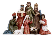 Gathered Holy Family and Three Kings 33cm Christmas Nativity Table Top Figurine