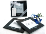 "Artisano Designs ""Memories Forever"" Glass Photo Coasters, Black, Set of 2"