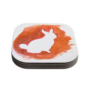 """Kess InHouse Theresa Giolzetti """"Orange You A Bunny"""" Abstract Paint Coasters, 10cm by 10cm , Orange, Set of 4"""