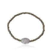 Riccova Avant-Garde Onyx Stretch Bracelet With Pave Cubic Zirconia Oval/