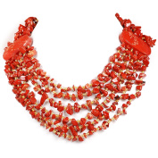 005 Ny6design Red Jasper Chip Huge Multi strand Necklace w/Silver Plated Clasp 50cm N4120508f