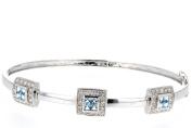 Diamond Bangle, 14kt White Gold Diamond & Blue Topaz Bangle