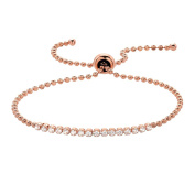 925 Sterling Silver Moon Cut Beads Cz Adjustable Tennis Bracelet Rose Gold Plated