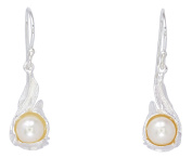 Sabuy Jewellery 8mm Pearl Surrounded by Flowers Earrings for Women's 925 Sterling Silver [ISE0195]