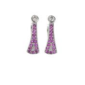 Diamond Dangle Earrings, 14kt White gold Diamond & Ruby Dangle Earrings, D-0.20 TCW, R-0.60 TCW