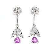 Diamond Dangle Earrings, 14kt White gold Diamond & Pink Sapphire Dangle Earrings, D-0.60 TCW, PS-1.25 TCW