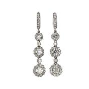 Diamond Dangle Earrings, 14kt White gold Diamond Dangle Earrings, 1.70 TCW