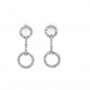 Diamond Dangle Earrings, 14kt White gold Diamond Dangle Earrings, 0.46 TCW